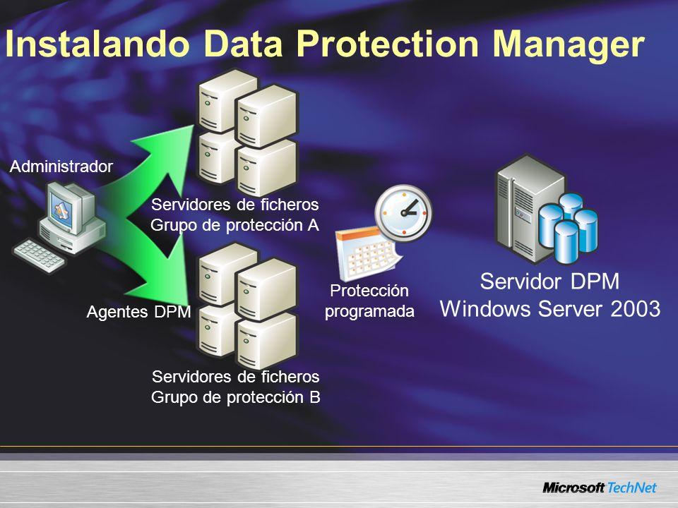 Instalando Data Protection Manager Servidor DPM Windows Server 2003 Administrador Agentes DPM Servidores de ficheros Grupo de protección A Protección