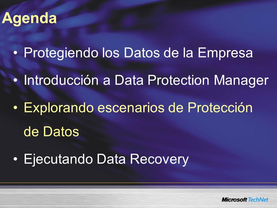 Agenda Protegiendo los Datos de la Empresa Introducción a Data Protection Manager Explorando escenarios de Protección de Datos Ejecutando Data Recover