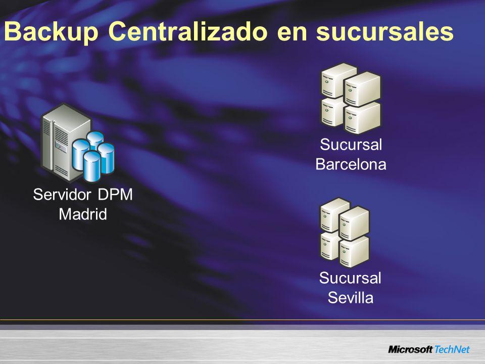 Backup Centralizado en sucursales Servidor DPM Madrid Sucursal Barcelona Sucursal Sevilla