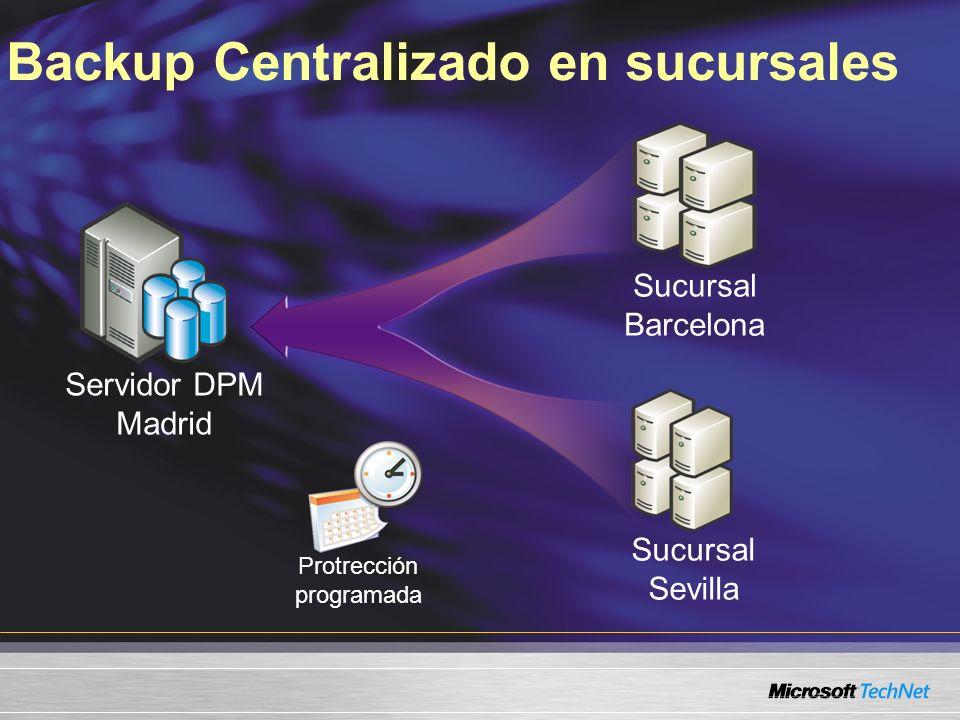 Backup Centralizado en sucursales Servidor DPM Madrid Sucursal Barcelona Sucursal Sevilla Protrección programada