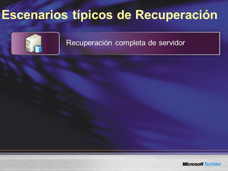 Escenarios típicos de Recuperación Recuperación completa de servidor