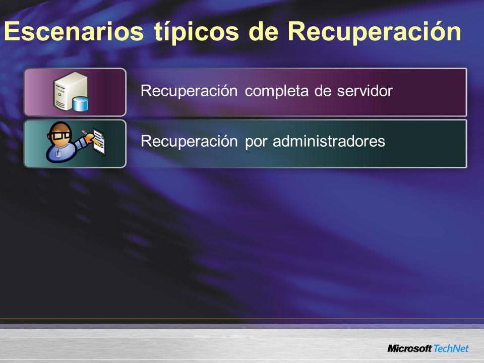 Escenarios típicos de Recuperación Recuperación completa de servidor Recuperación por administradores