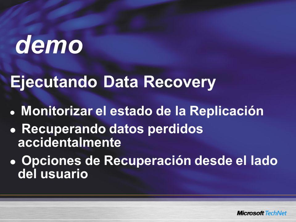 Demo Ejecutando Data Recovery Monitorizar el estado de la Replicación Recuperando datos perdidos accidentalmente Opciones de Recuperación desde el lad