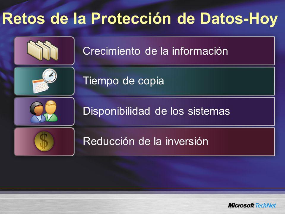 Data Protection Manager 2006 Forma parte de la familia Microsoft System Center® para Gestión de Sistemas Está orientado para empresas de cualquier tipo, siendo ideal para: –Empresas de tamaño medio (de 5 a 99 servidores) –Empresas con muchas sucursales distribuidas espacialmente Ofrece protección basada en disco y también de disco a cinta (D2D2T)