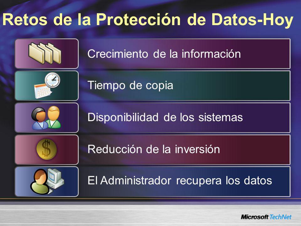 Retos de la Protección de Datos-Hoy Crecimiento de la información Tiempo de copia Disponibilidad de los sistemasReducción de la inversión El Administr