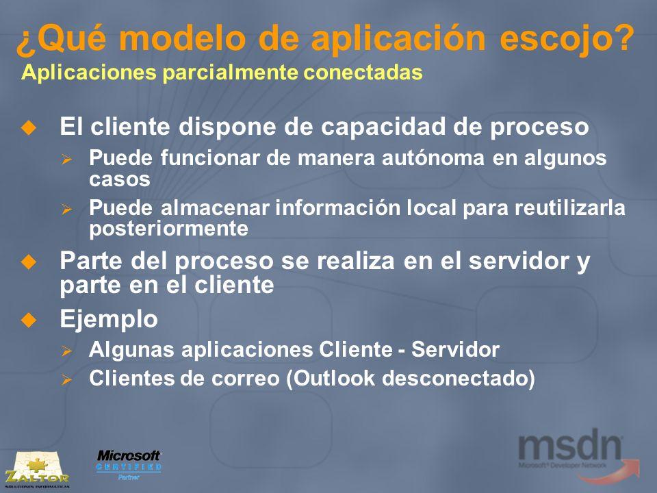¿Qué modelo de aplicación escojo? Aplicaciones parcialmente conectadas El cliente dispone de capacidad de proceso Puede funcionar de manera autónoma e