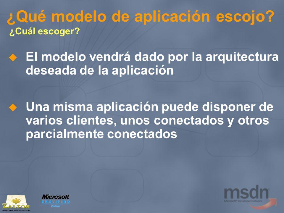 ¿Qué modelo de aplicación escojo? ¿Cuál escoger? El modelo vendrá dado por la arquitectura deseada de la aplicación Una misma aplicación puede dispone