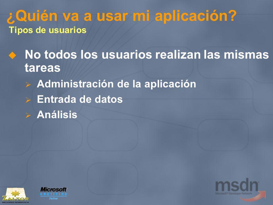 ¿Quién va a usar mi aplicación? Tipos de usuarios No todos los usuarios realizan las mismas tareas Administración de la aplicación Entrada de datos An