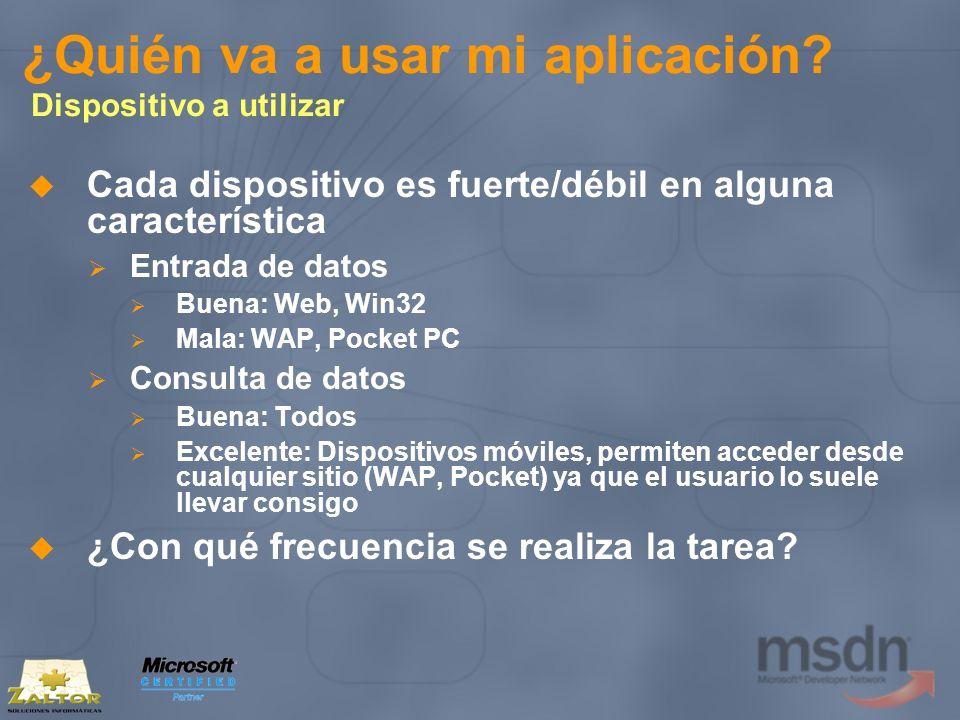 ¿Quién va a usar mi aplicación? Dispositivo a utilizar Cada dispositivo es fuerte/débil en alguna característica Entrada de datos Buena: Web, Win32 Ma