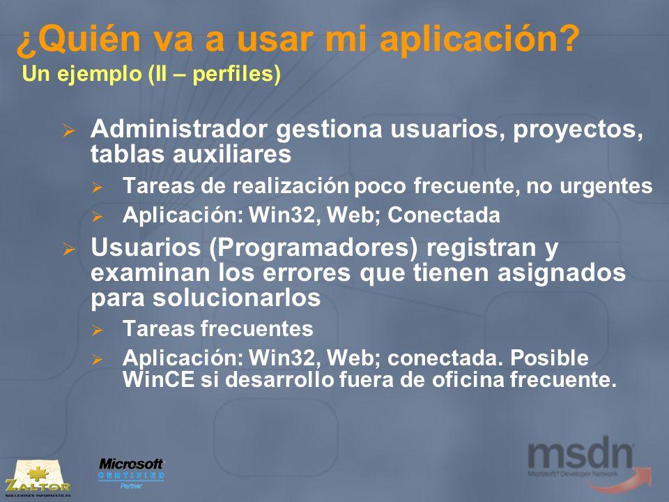 ¿Quién va a usar mi aplicación? Un ejemplo (II – perfiles) Administrador gestiona usuarios, proyectos, tablas auxiliares Tareas de realización poco fr