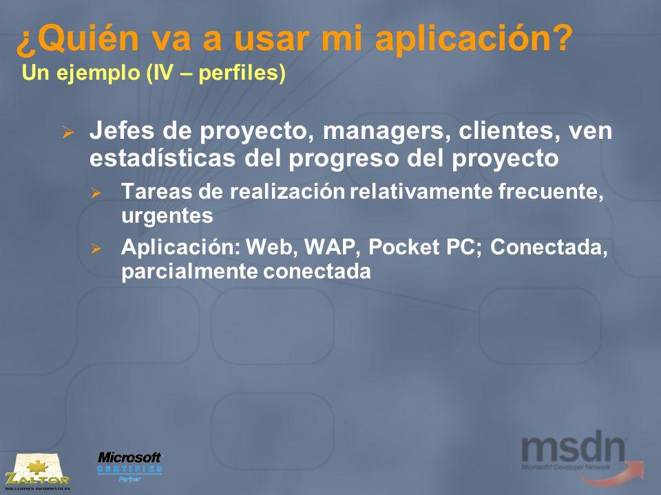 ¿Quién va a usar mi aplicación? Un ejemplo (IV – perfiles) Jefes de proyecto, managers, clientes, ven estadísticas del progreso del proyecto Tareas de