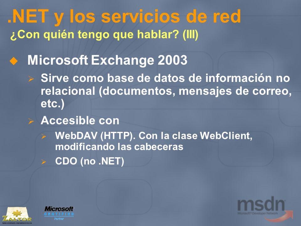 .NET y los servicios de red ¿Con quién tengo que hablar? (III) Microsoft Exchange 2003 Sirve como base de datos de información no relacional (document