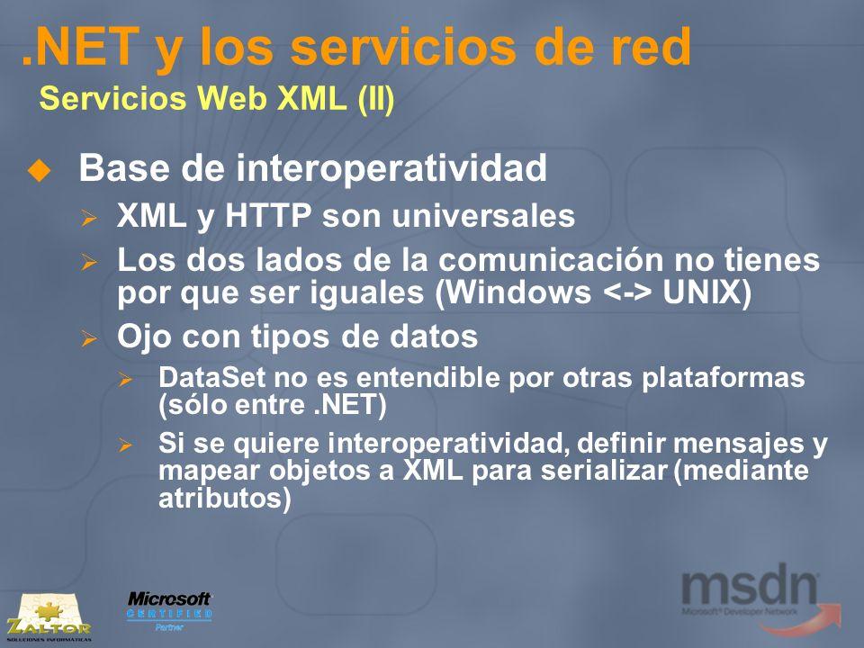 .NET y los servicios de red Servicios Web XML (II) Base de interoperatividad XML y HTTP son universales Los dos lados de la comunicación no tienes por
