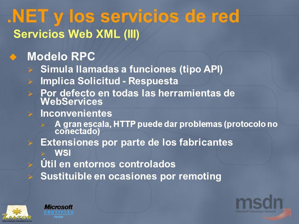 .NET y los servicios de red Servicios Web XML (III) Modelo RPC Simula llamadas a funciones (tipo API) Implica Solicitud - Respuesta Por defecto en tod