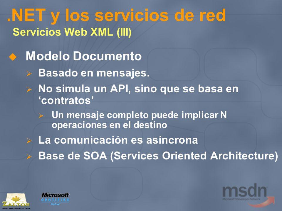 .NET y los servicios de red Servicios Web XML (III) Modelo Documento Basado en mensajes. No simula un API, sino que se basa en contratos Un mensaje co