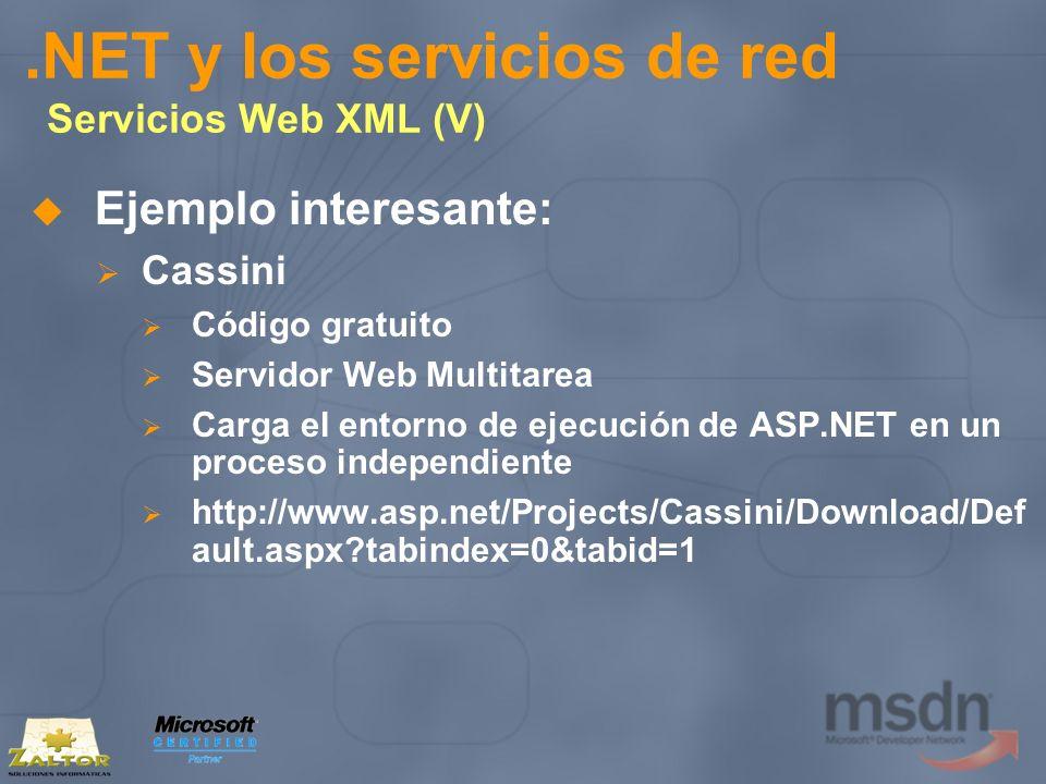 .NET y los servicios de red Servicios Web XML (V) Ejemplo interesante: Cassini Código gratuito Servidor Web Multitarea Carga el entorno de ejecución d