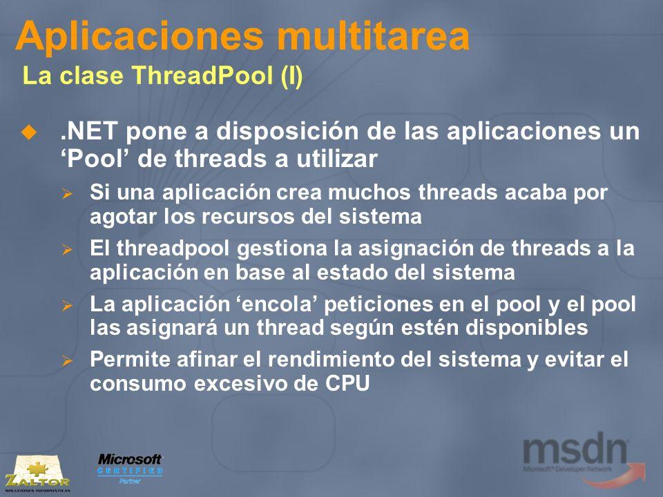 Aplicaciones multitarea La clase ThreadPool (I).NET pone a disposición de las aplicaciones un Pool de threads a utilizar Si una aplicación crea muchos