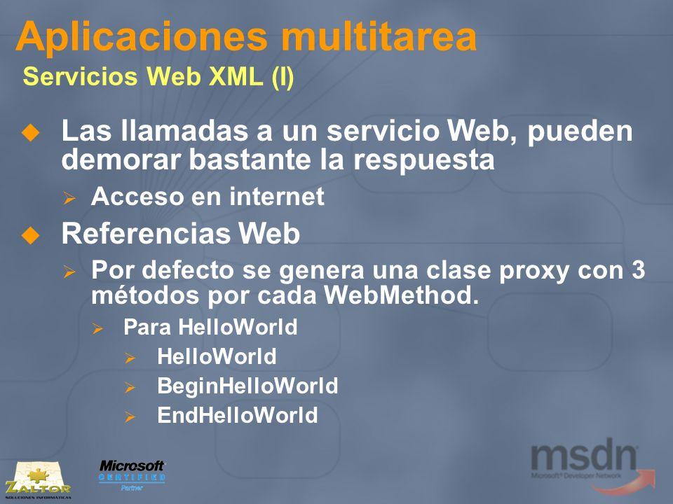 Aplicaciones multitarea Servicios Web XML (I) Las llamadas a un servicio Web, pueden demorar bastante la respuesta Acceso en internet Referencias Web