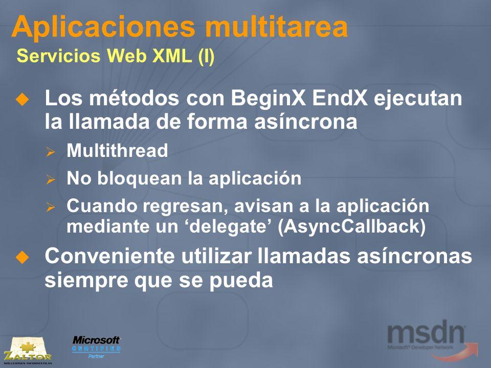 Aplicaciones multitarea Servicios Web XML (I) Los métodos con BeginX EndX ejecutan la llamada de forma asíncrona Multithread No bloquean la aplicación