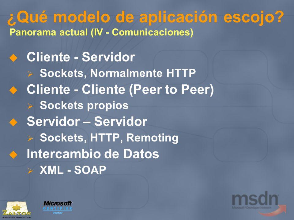 ¿Qué modelo de aplicación escojo? Panorama actual (IV - Comunicaciones) Cliente - Servidor Sockets, Normalmente HTTP Cliente - Cliente (Peer to Peer)
