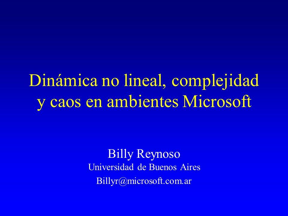 Dinámica no lineal, complejidad y caos en ambientes Microsoft Billy Reynoso Universidad de Buenos Aires Billyr@microsoft.com.ar