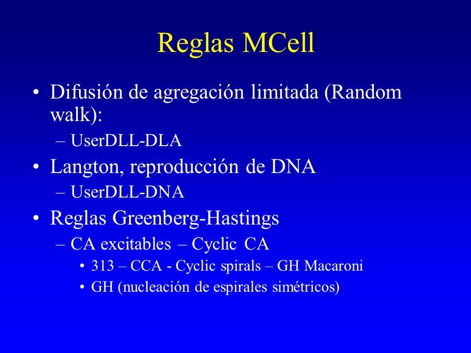 Reglas MCell Difusión de agregación limitada (Random walk): –UserDLL-DLA Langton, reproducción de DNA –UserDLL-DNA Reglas Greenberg-Hastings –CA excit