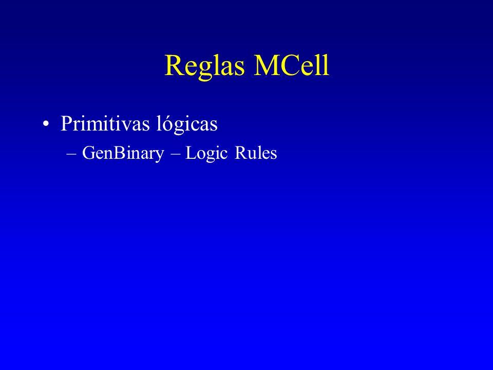 Reglas MCell Primitivas lógicas –GenBinary – Logic Rules