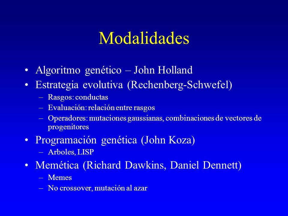 Modalidades Algoritmo genético – John Holland Estrategia evolutiva (Rechenberg-Schwefel) –Rasgos: conductas –Evaluación: relación entre rasgos –Operad