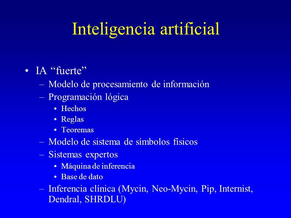 Inteligencia artificial IA fuerte –Modelo de procesamiento de información –Programación lógica Hechos Reglas Teoremas –Modelo de sistema de símbolos f
