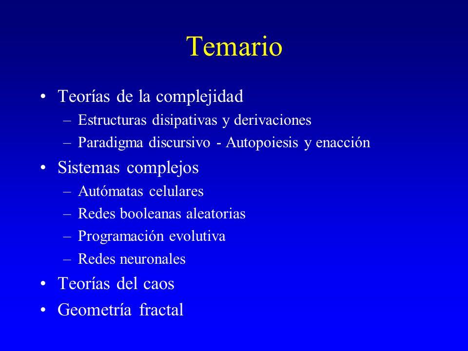 Temario Teorías de la complejidad –Estructuras disipativas y derivaciones –Paradigma discursivo - Autopoiesis y enacción Sistemas complejos –Autómatas