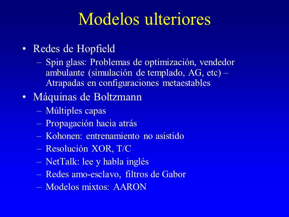 Modelos ulteriores Redes de Hopfield –Spin glass: Problemas de optimización, vendedor ambulante (simulación de templado, AG, etc) – Atrapadas en confi