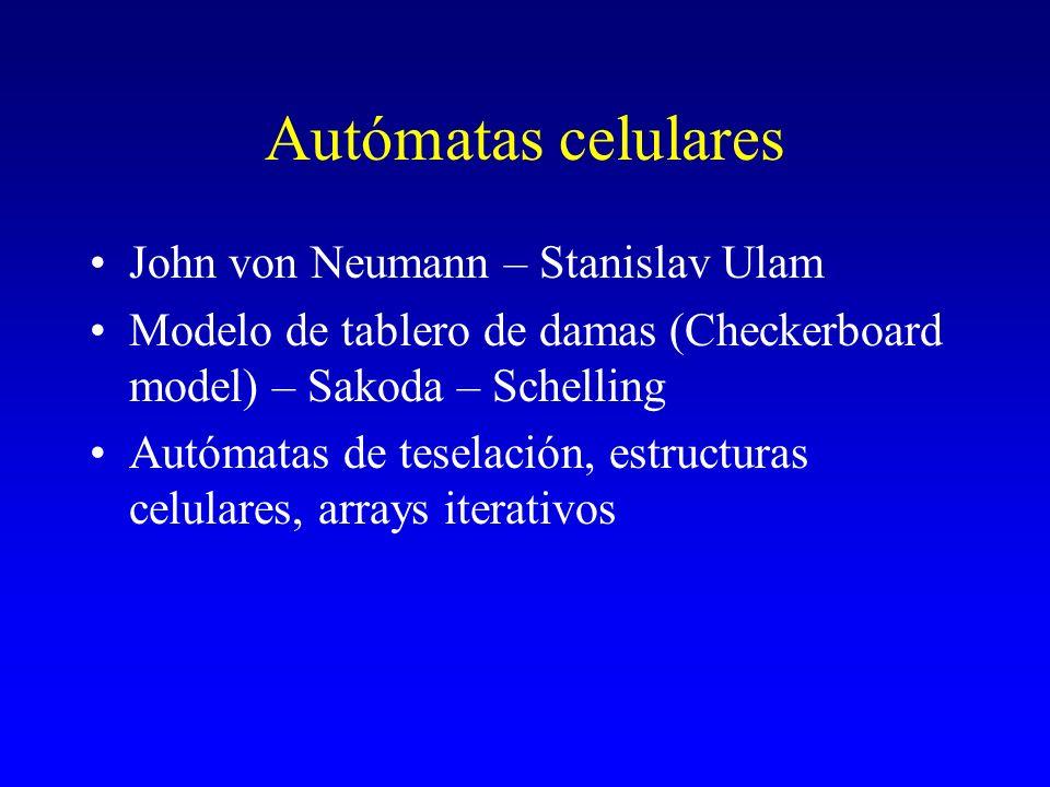 Autómatas celulares John von Neumann – Stanislav Ulam Modelo de tablero de damas (Checkerboard model) – Sakoda – Schelling Autómatas de teselación, es