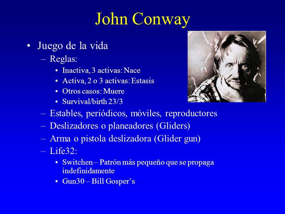 John Conway Juego de la vida –Reglas: Inactiva, 3 activas: Nace Activa, 2 o 3 activas: Estasis Otros casos: Muere Survival/birth 23/3 –Estables, perió