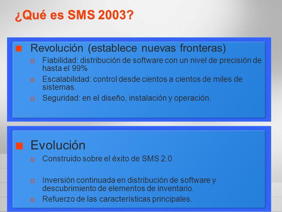 ¿Qué es SMS 2003? Revolución (establece nuevas fronteras) Fiabilidad: distribución de software con un nivel de precisión de hasta el 99% Escalabilidad