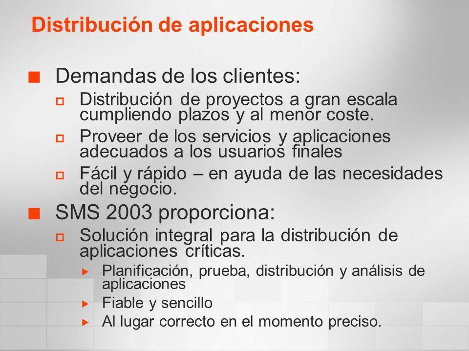 Demandas de los clientes: Distribución de proyectos a gran escala cumpliendo plazos y al menor coste. Proveer de los servicios y aplicaciones adecuado