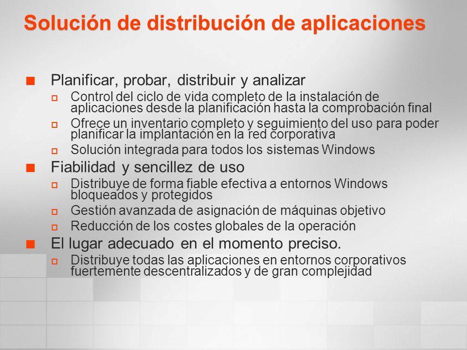 Solución de distribución de aplicaciones Planificar, probar, distribuir y analizar Control del ciclo de vida completo de la instalación de aplicacione