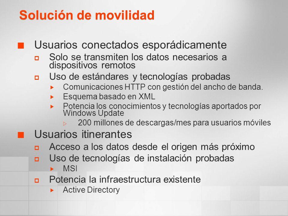 Solución de movilidad Usuarios conectados esporádicamente Solo se transmiten los datos necesarios a dispositivos remotos Uso de estándares y tecnologías probadas Comunicaciones HTTP con gestión del ancho de banda.