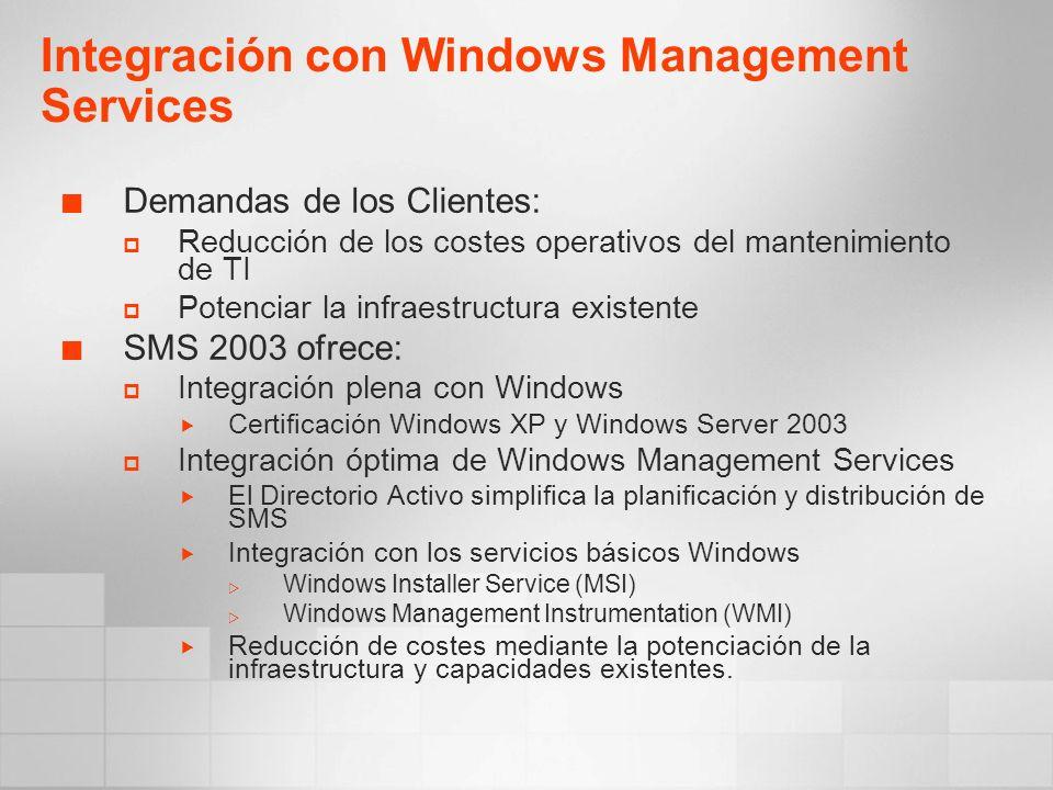 Demandas de los Clientes: Reducción de los costes operativos del mantenimiento de TI Potenciar la infraestructura existente SMS 2003 ofrece: Integraci