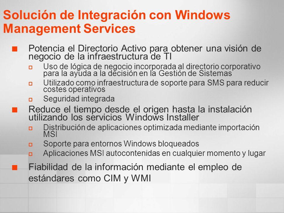 Potencia el Directorio Activo para obtener una visión de negocio de la infraestructura de TI Uso de lógica de negocio incorporada al directorio corporativo para la ayuda a la decisión en la Gestión de Sistemas Utilizado como infraestructura de soporte para SMS para reducir costes operativos Seguridad integrada Reduce el tiempo desde el origen hasta la instalación utilizando los servicios Windows Installer Distribución de aplicaciones optimizada mediante importación MSI Soporte para entornos Windows bloqueados Aplicaciones MSI autocontenidas en cualquier momento y lugar Fiabilidad de la información mediante el empleo de estándares como CIM y WMI Solución de Integración con Windows Management Services