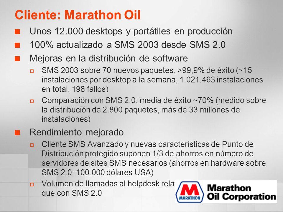 Cliente: Marathon Oil Unos 12.000 desktops y portátiles en producción 100% actualizado a SMS 2003 desde SMS 2.0 Mejoras en la distribución de software SMS 2003 sobre 70 nuevos paquetes, >99,9% de éxito (~15 instalaciones por desktop a la semana, 1.021.463 instalaciones en total, 198 fallos) Comparación con SMS 2.0: media de éxito ~70% (medido sobre la distribución de 2.800 paquetes, más de 33 millones de instalaciones) Rendimiento mejorado Cliente SMS Avanzado y nuevas características de Punto de Distribución protegido suponen 1/3 de ahorros en número de servidores de sites SMS necesarios (ahorros en hardware sobre SMS 2.0: 100.000 dólares USA) Volumen de llamadas al helpdesk relativas a SD: 20% menos que con SMS 2.0