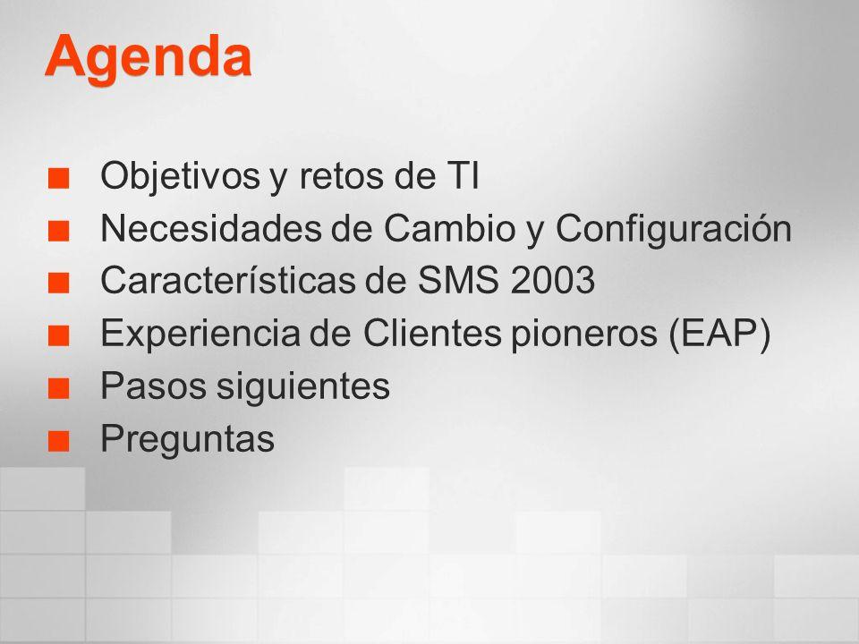 Agenda Objetivos y retos de TI Necesidades de Cambio y Configuración Características de SMS 2003 Experiencia de Clientes pioneros (EAP) Pasos siguientes Preguntas