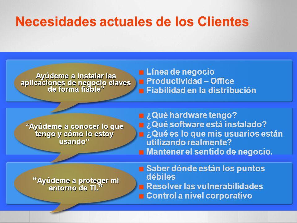Necesidades actuales de los Clientes Línea de negocio Productividad – Office Fiabilidad en la distribución ¿Qué hardware tengo? ¿Qué software está ins