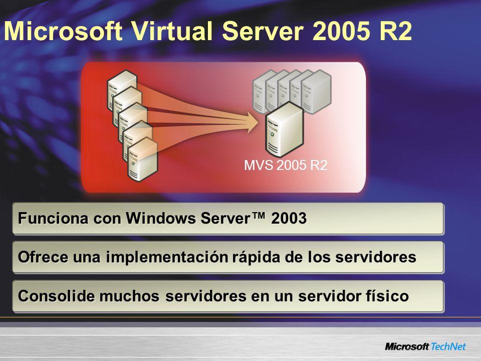 Microsoft Virtual Server 2005 R2 MVS 2005 R2 Funciona con Windows Server 2003 Ofrece una implementación rápida de los servidores Consolide muchos servidores en un servidor físico