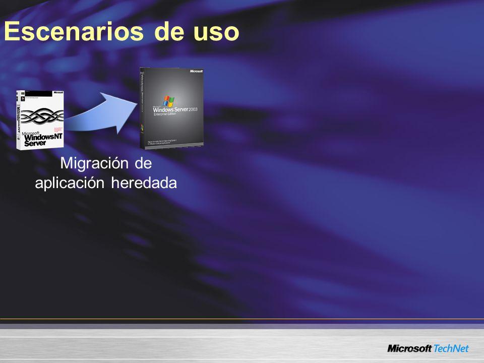 Escenarios de uso Migración de aplicación heredada