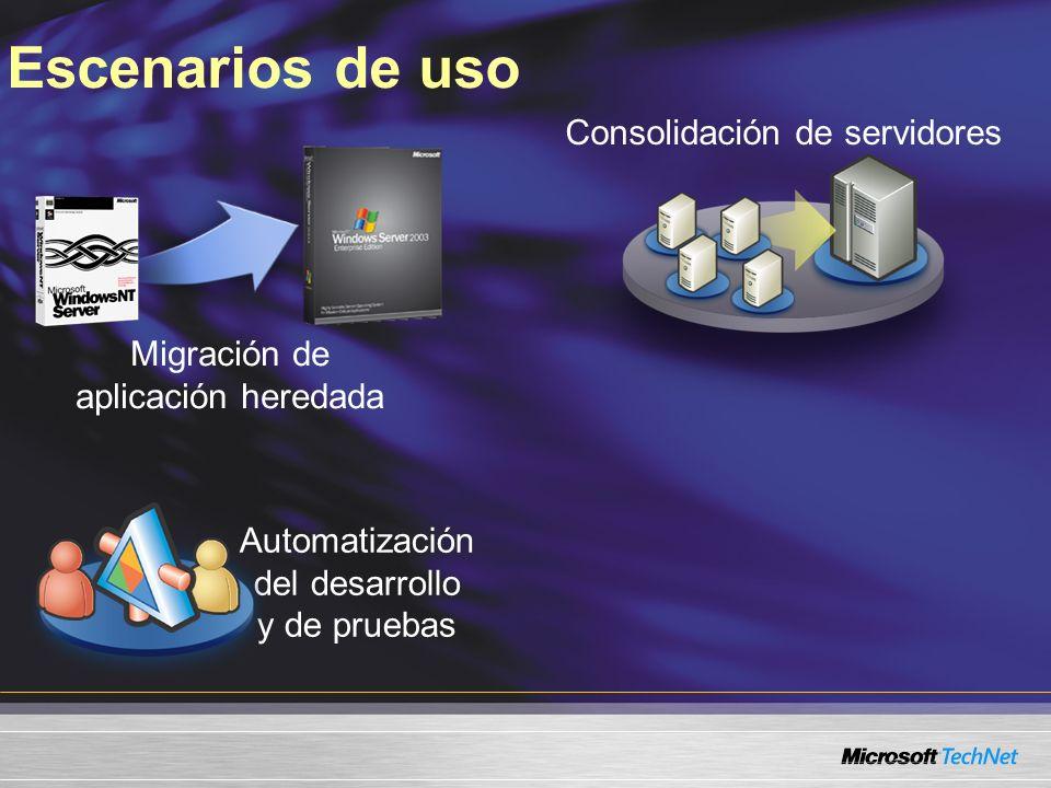 Escenarios de uso Migración de aplicación heredada Automatización del desarrollo y de pruebas Consolidación de servidores