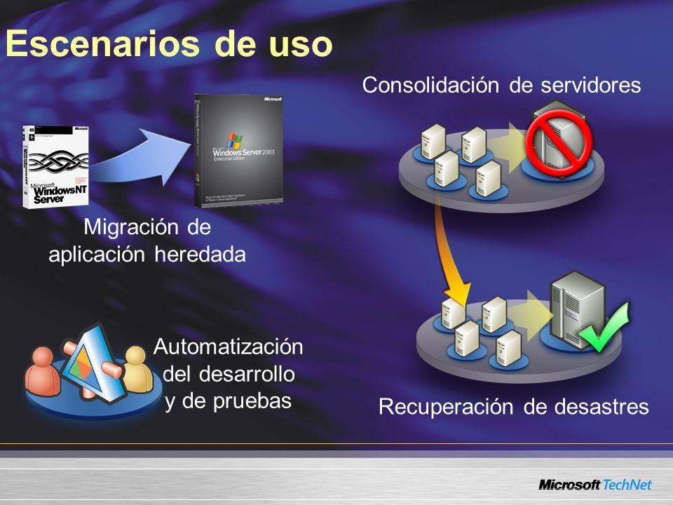 Escenarios de uso Migración de aplicación heredada Automatización del desarrollo y de pruebas Recuperación de desastres Consolidación de servidores
