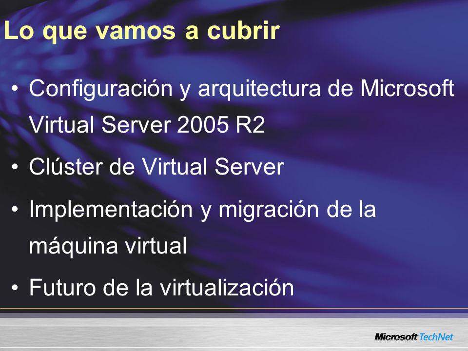 Configuración y arquitectura de Microsoft Virtual Server 2005 R2 Clúster de Virtual Server Implementación y migración de la máquina virtual Futuro de la virtualización Lo que vamos a cubrir