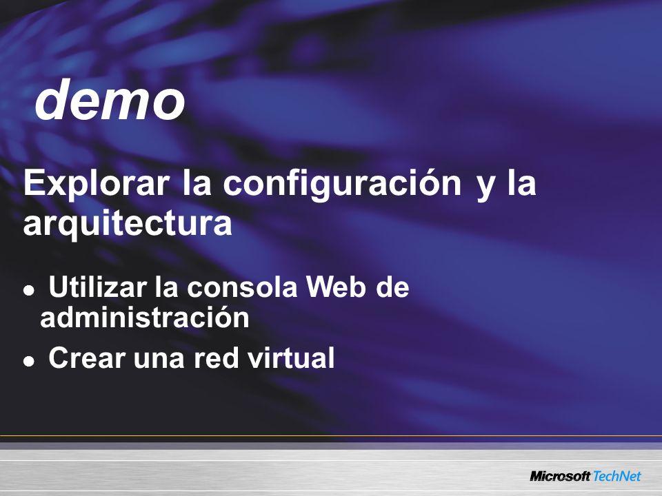 Demo Explorar la configuración y la arquitectura Utilizar la consola Web de administración Crear una red virtual demo