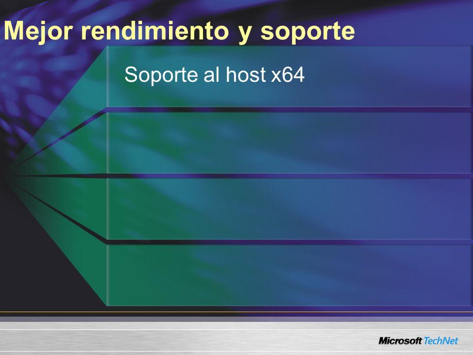 Mejor rendimiento y soporte Soporte al host x64