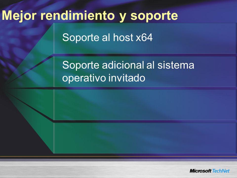 Mejor rendimiento y soporte Soporte al host x64 Soporte adicional al sistema operativo invitado